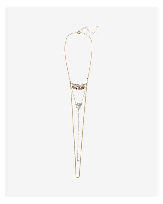Express   Metallic Two Tone Mini Filigree Draped Drop Necklace   Lyst