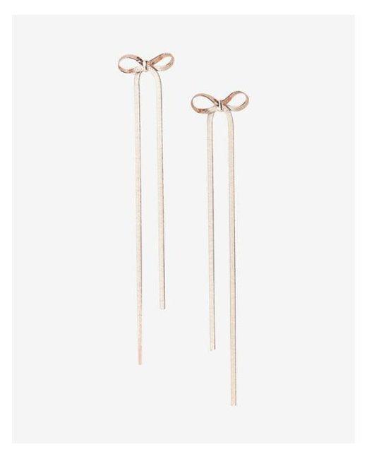 Express - Metallic Metal Bow Linear Drop Earrings - Lyst