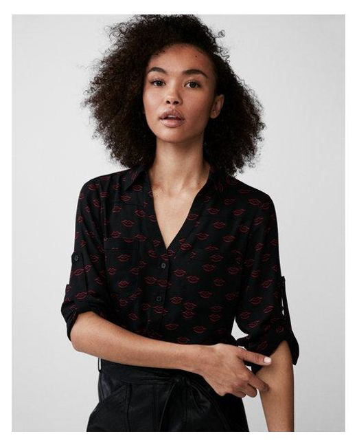 Express - Black Slim Fit Lip Print Portofino Shirt - Lyst