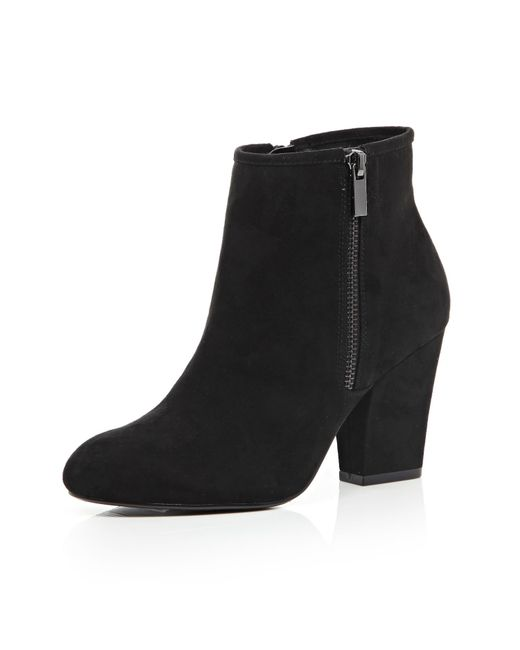 river island black zip side heeled ankle boots in black lyst