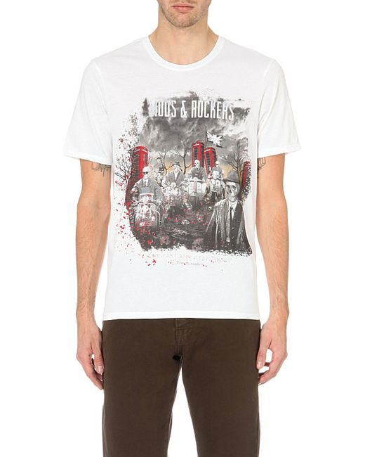 The Kooples   White Printed Cotton T-Shirt for Men   Lyst