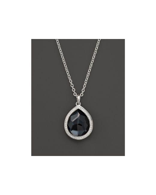 "Ippolita | Metallic Stella Large Teardrop Pendant Necklace In Hematite Doublet With Diamonds In Sterling Silver, 16"" | Lyst"