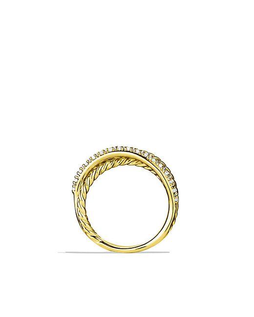 David Yurman   Metallic Crossover Ring With Diamonds In 18k Gold   Lyst