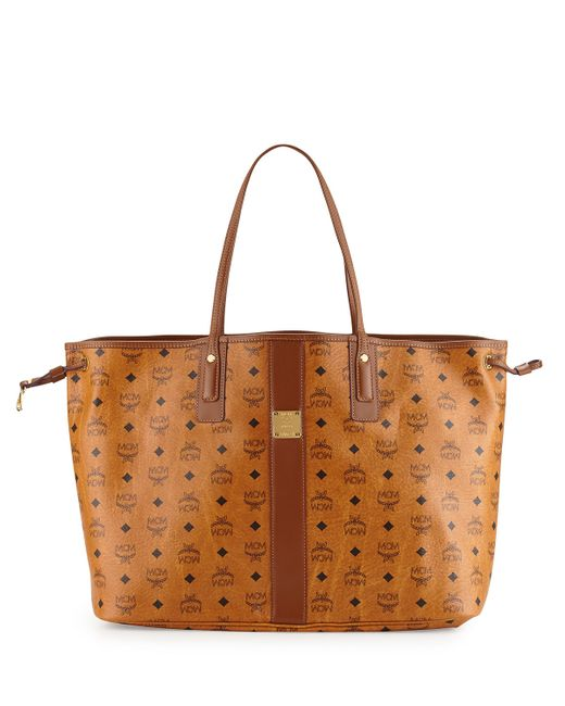 mcm liz reversible large visetos tote bag in brown lyst. Black Bedroom Furniture Sets. Home Design Ideas