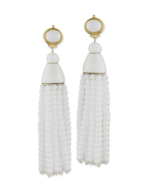 Kenneth Jay Lane | White Tassel Clip Earring | Lyst