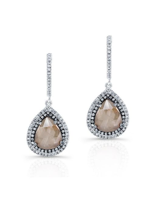 Anne Sisteron - Natural 14kt White Gold Pear Shape Raw Diamond Double Halo Earrings - Lyst