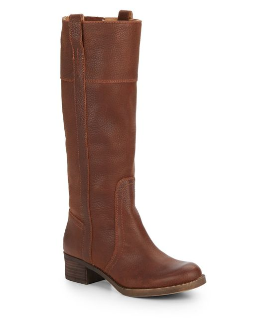 lucky brand heloisse leather boots in brown chipmunk lyst