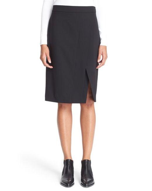 dkny stretch wool pencil skirt in black save 40 lyst