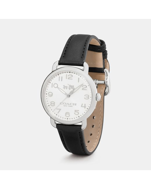 COACH | Black Delancey 36mm Stainless Steel Leather Strap Watch | Lyst