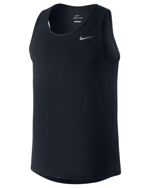 Nike | Black Contour Dri-fit Running Singlet for Men | Lyst