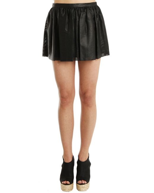 balmain perforated leather skirt in black lyst