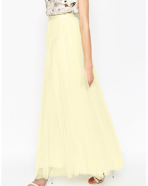 needle thread tulle maxi skirt in white lyst