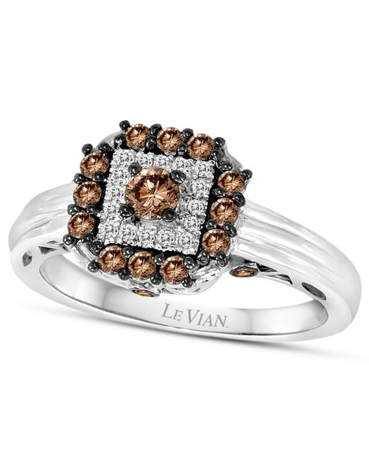 Le Vian | Metallic Chocolatier® Chocolate Deco Estate™ Chocolate Diamond (1/2 Ct. T.w.) And White Diamond Accent Square Ring In 14k White Gold | Lyst