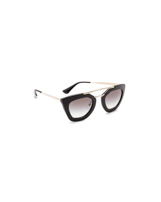 Thick Frame Glasses Black : Prada Thick Frame Sunglasses in Black Lyst