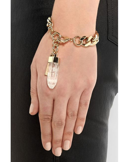 Givenchy | Metallic Chain Bracelet In Pale Gold-tone And Rock Crystal | Lyst