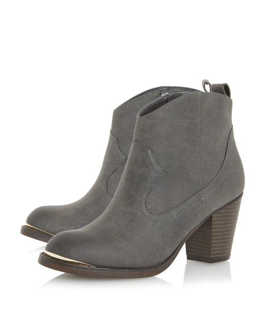 dune paityn metal detail western ankle boots in brown lyst