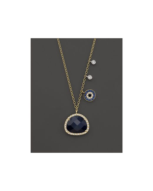 Meira T | Blue 14k Yellow Gold Sapphire Evil Eye Disc Necklace With 14k White Gold Side Bezels, 16"