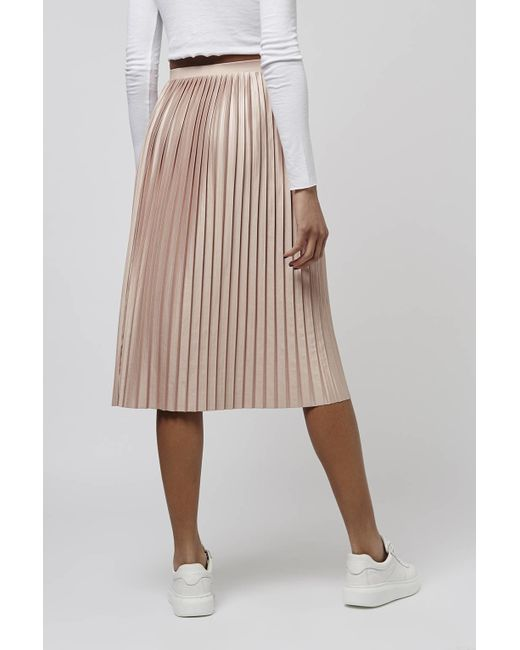 topshop jersey pleated midi skirt in pink dusty pink lyst