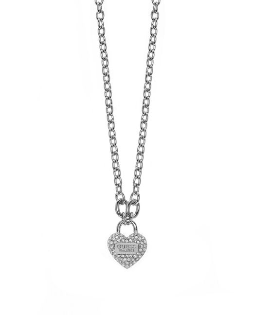 Guess | Metallic True Love Heart Pave Padlock Necklace | Lyst