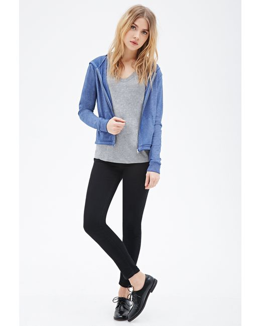 Forever 21 | Blue Heathered Knit Hoodie | Lyst