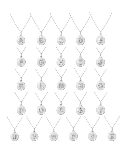KC Designs | 14k White Gold Diamond Disc Initial Necklace | Lyst