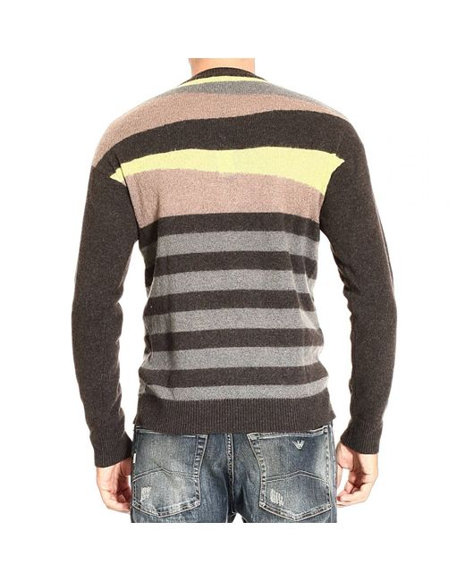 just cavalli striped cashmere and mohair blend sweater in multicolor for men brown lyst. Black Bedroom Furniture Sets. Home Design Ideas