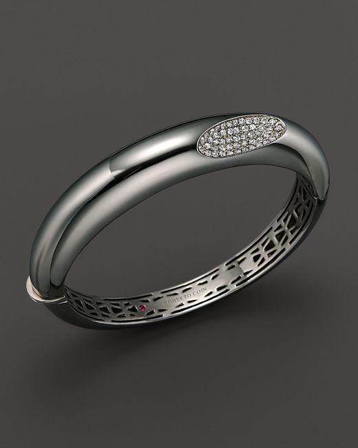 Roberto Coin | Metallic Medium Sterling Silver Bangle With Diamonds | Lyst