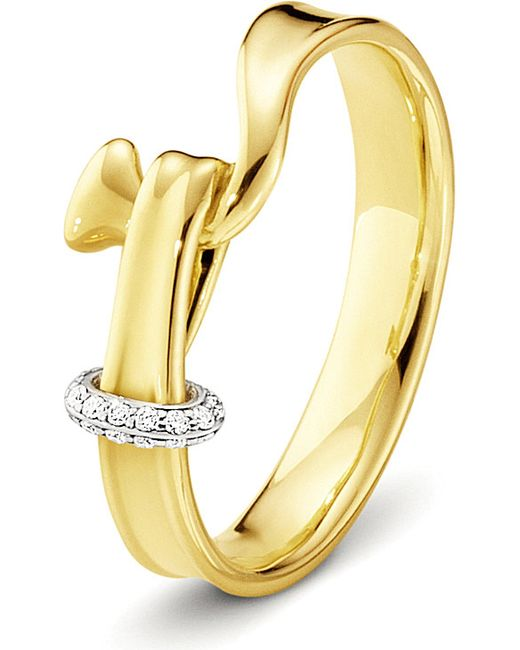 Georg Jensen | Metallic Torun 18ct Yellow-gold And Diamond Ring | Lyst