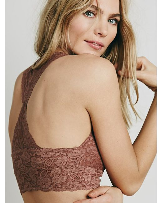 Free People | Brown Galloon Lace Racerback | Lyst