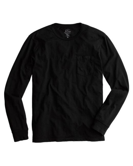 J.Crew | Black Broken-in Long-sleeve Pocket T-shirt for Men | Lyst