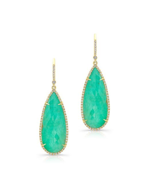 Anne Sisteron | Green 14kt Yellow Gold Turquoise Diamond Rose Cut Earrings | Lyst
