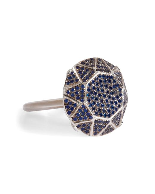 Ileana Makri | Metallic White Gold/sapphire Gem Single Solitaire Ring | Lyst