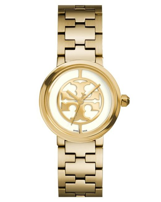 Tory Burch | Metallic 'reva' Logo Dial Bracelet Watch | Lyst