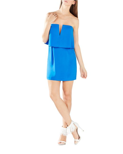 BCBGMAXAZRIA | Blue Kate Strapless Popover Dress | Lyst
