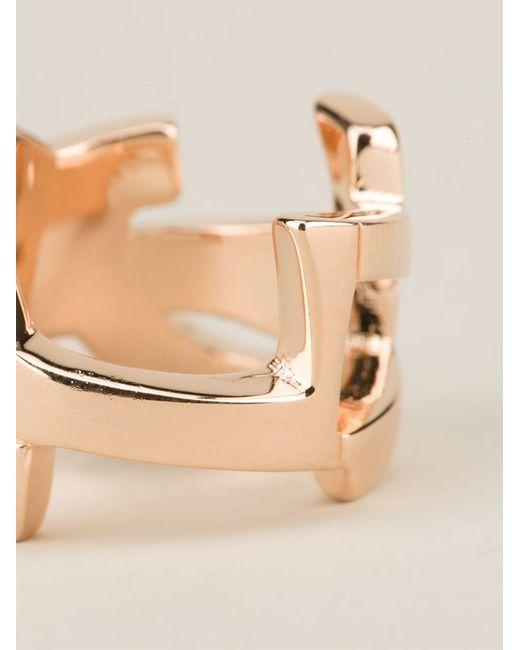Saint Laurent   Metallic 'monogram' Ring   Lyst