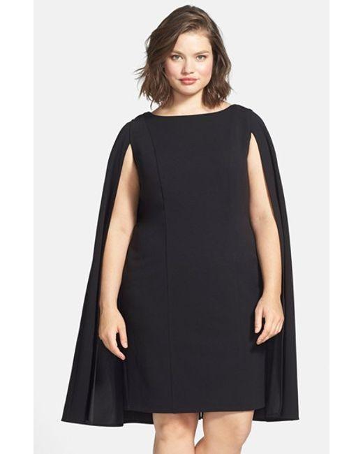 Adrianna Papell | Black Cape Sheath Dress | Lyst