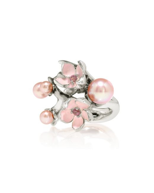 Shaun Leane | Red Cherry Blossom Silver Ring | Lyst