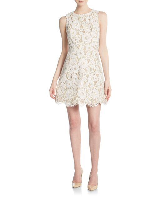 Alice Olivia Leann Lace Dress In Beige Ivory Tan