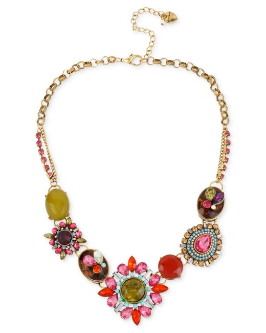 Betsey Johnson | Metallic Gold-tone Multi-color Crystal Pendant Frontal Necklace | Lyst