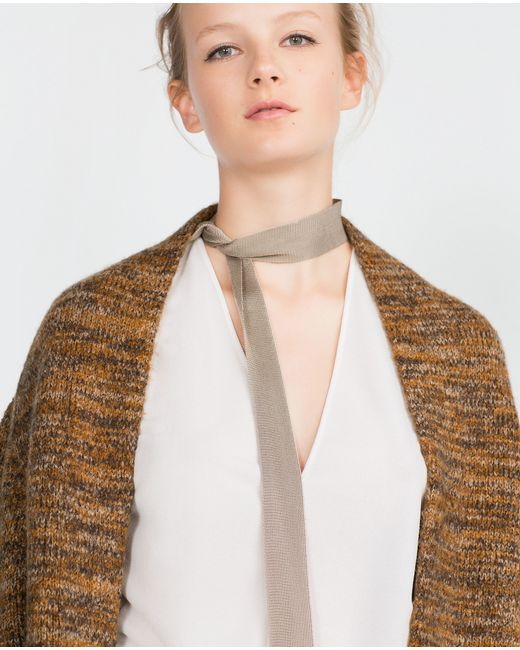 Zara | Brown Long Cardigan | Lyst