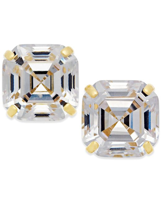 Macy's | Metallic Cubic Zirconia Stud Earrings In 10k Gold | Lyst