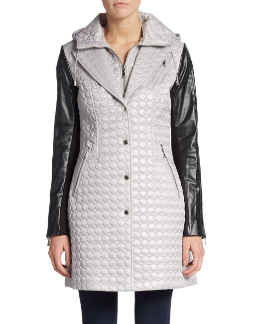 Dawn Levy | Gray Quilted Faux Leather-detail Jacket | Lyst