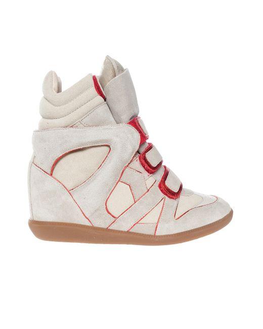 Étoile Isabel Marant | Beige Wila Metallic Leather-trimmed Suede Wedge Sneakers | Lyst