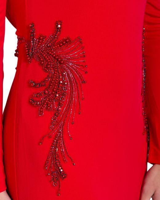 Badgley Mischka | Red Jersey Drape Back Evening Gown | Lyst