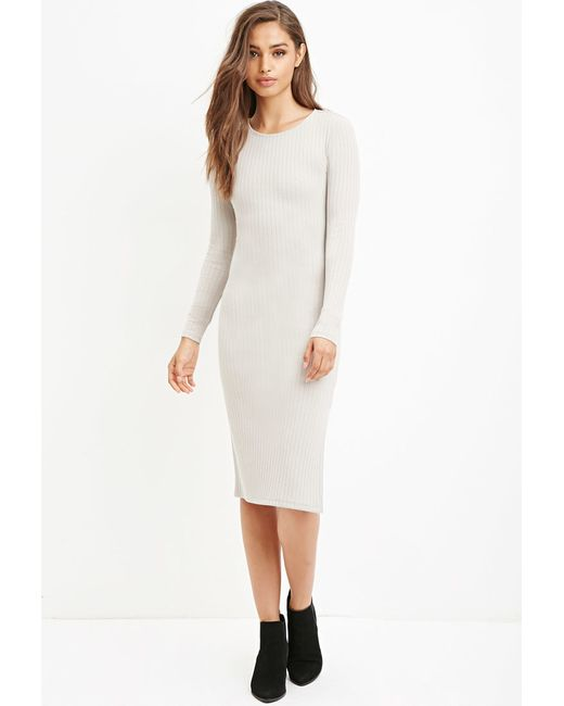 Forever 21 | Brown Ribbed Bodycon Midi Dress | Lyst