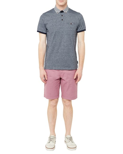 Ted Baker | Gray Wudyar Printed Collar Polo Shirt for Men | Lyst