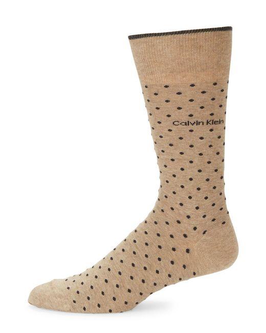 Calvin Klein | Brown Pin Dot Crew Socks | Lyst