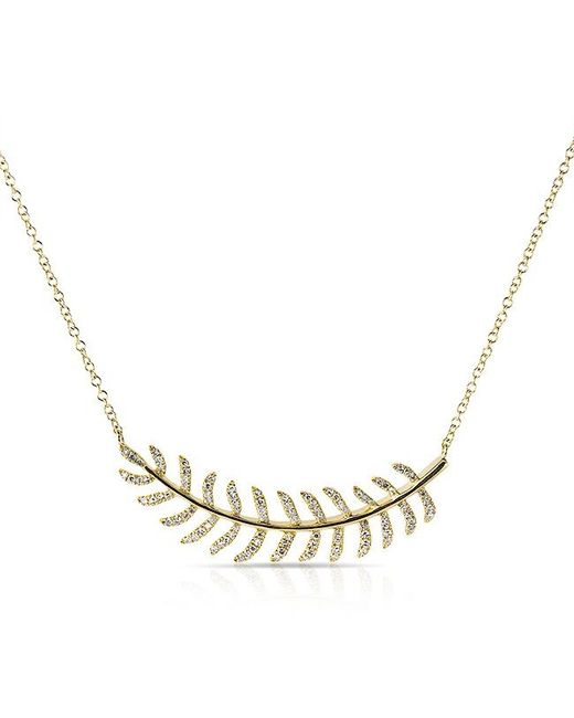 Anne Sisteron - Metallic 14kt Yellow Gold Diamond Crescent Palm Necklace - Lyst