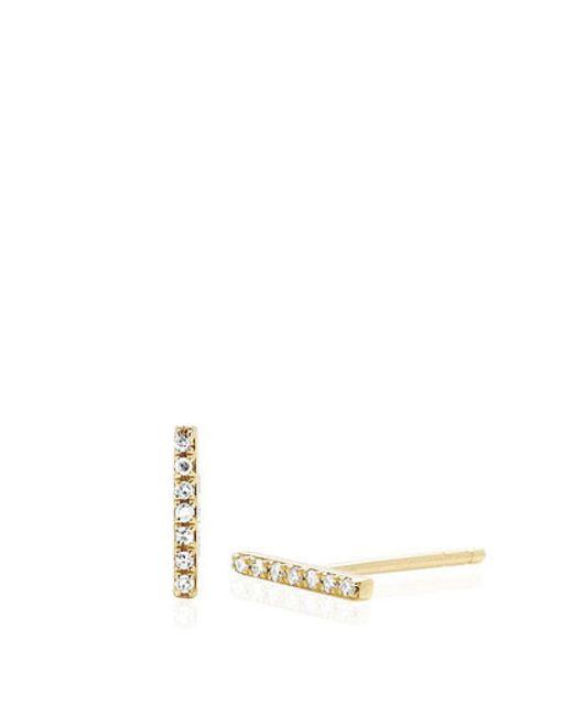 EF Collection | Metallic 14k Diamond Bar Stud | Lyst