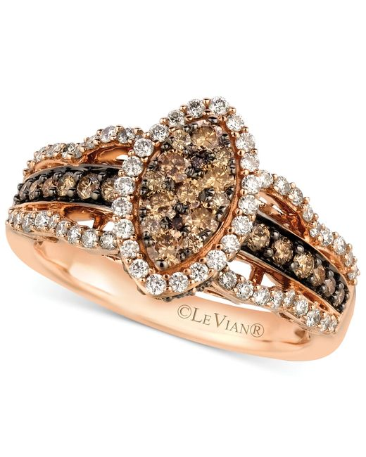 Le Vian White And Chocolate Diamond Ring In 14k Rose Gold